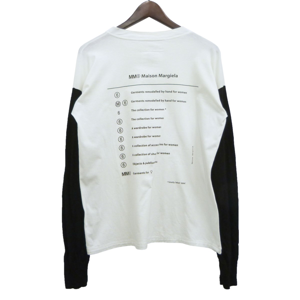 【中古】MM6 '19SS 「LONG SLEEVE T-SHIRT」ニット切替長袖Tシャツ ホワイト×ブラック サイズ:XS 【260320】(エムエムシックス)