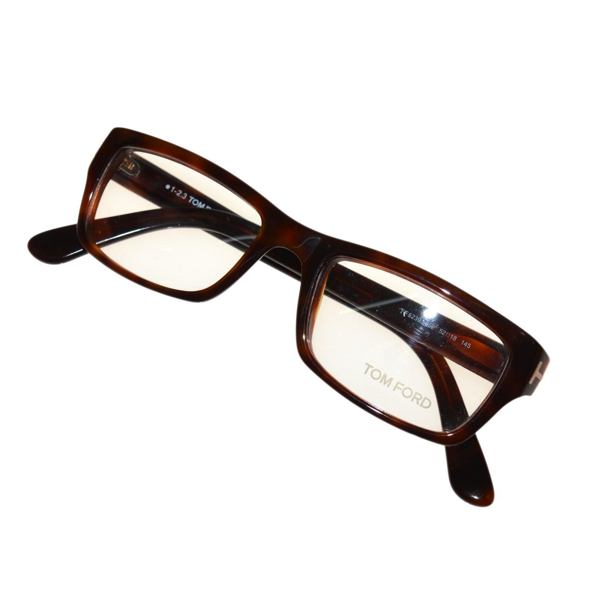 【中古】TOM FORD TF5239 スクエア眼鏡 ブラウン サイズ:52□18-145 【270320】(トムフォード)