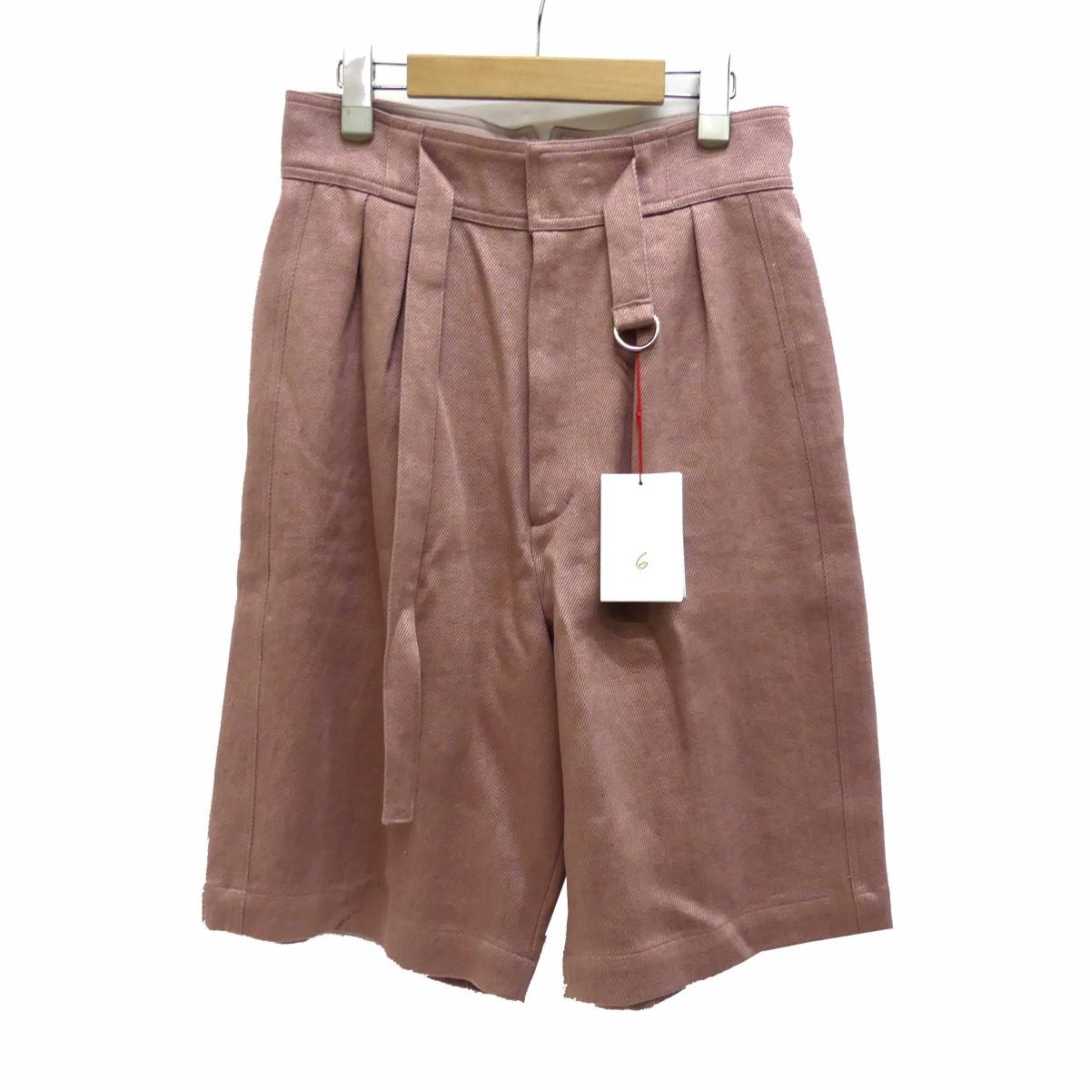 【中古】6(ROKU) BEAUTY&YOUTH UNITED ARROWS HEAVY LINEN PANTS ショートパンツ ピンク サイズ:36 【280320】(ロクビューティアンドユースユナイテッドアローズ)