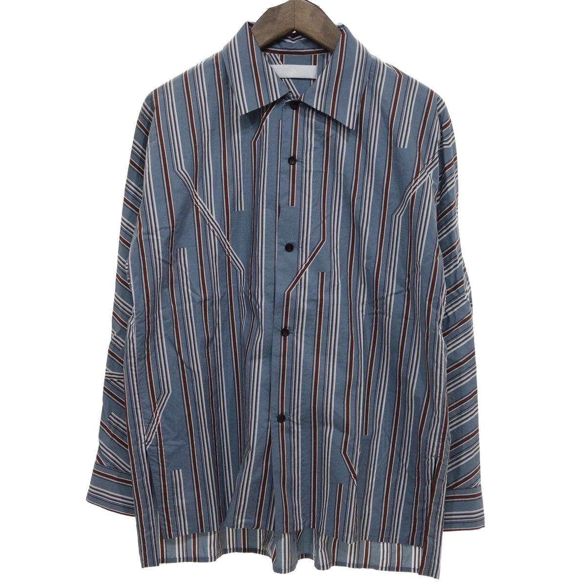 【中古】ETHOSENS 【2019S/S】 TWIST STRIPE SHIRT ストライプシャツ ライトブルー サイズ:1 【280320】(エトセンス)