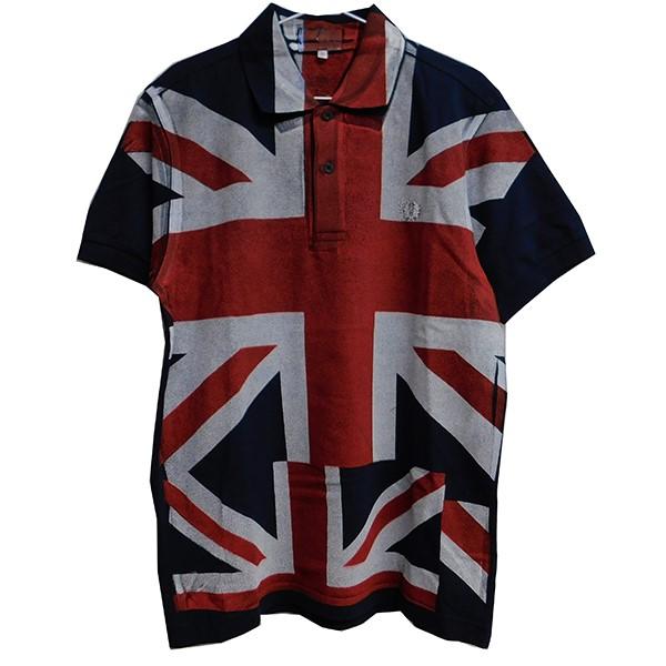 【中古】comme des garcons shirt × FRED PERRY ユニオンジャック ポロシャツ ネイビー サイズ:S 【270320】(コムデギャルソンシャツ フレッドペリー)