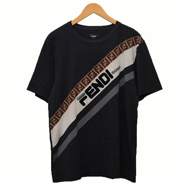 【中古】FENDI×FILA プリントTシャツ Tシャツ ブラック サイズ:S 【280320】(フェンディ×フィラ)