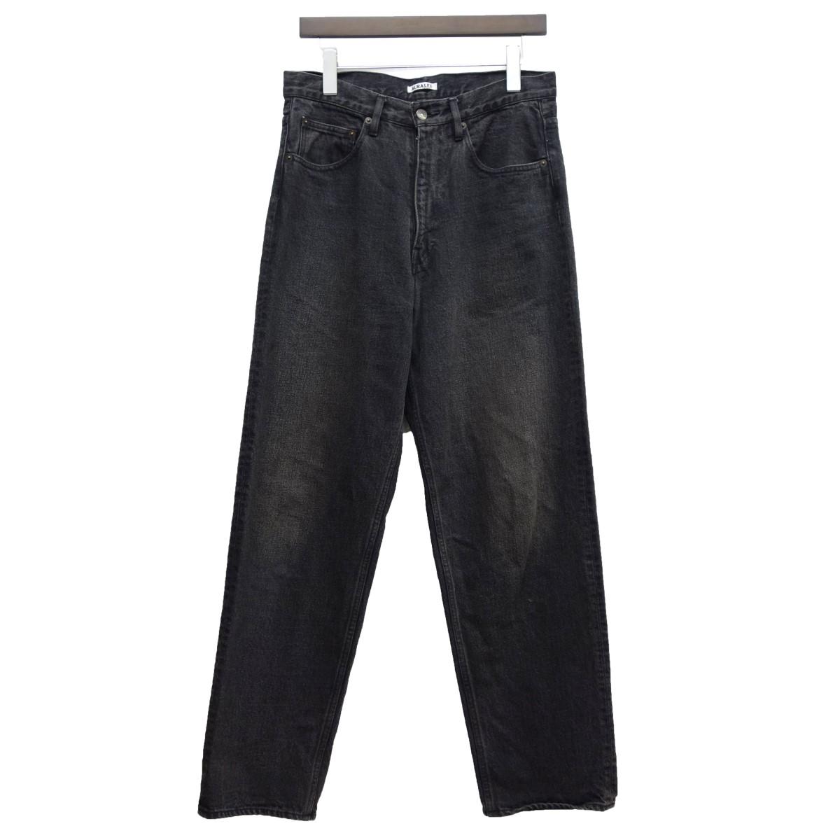 【中古】AURALEE 19SS「WASHED HARD TWIST DENIM WIDE PANT」デニムパンツ ブラック サイズ:30 【280320】(オーラリー)
