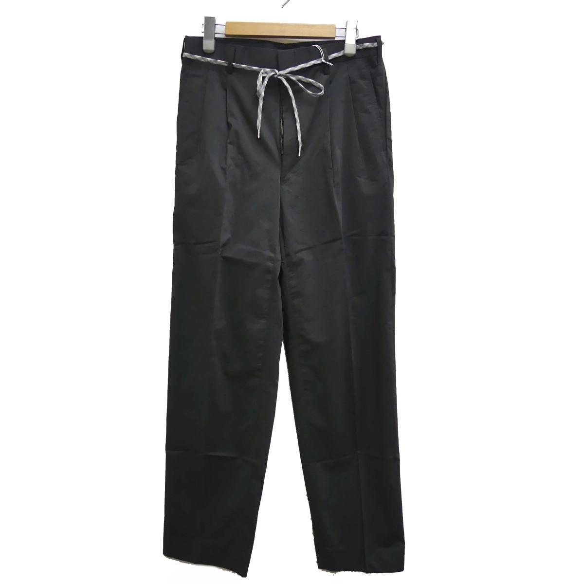 【中古】RYU Nylon chamblay 2 tuch taperd pants ナイロン2タックワイドパンツ ブラック サイズ:3 【290320】(リュー)