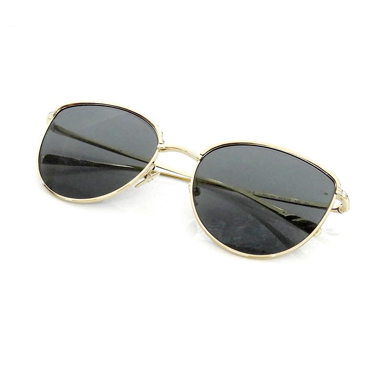 【中古】CHANEL 「パンドシェイプ アイウェア」サングラス 4258-B ゴールド×ブラック 【300320】(シャネル)