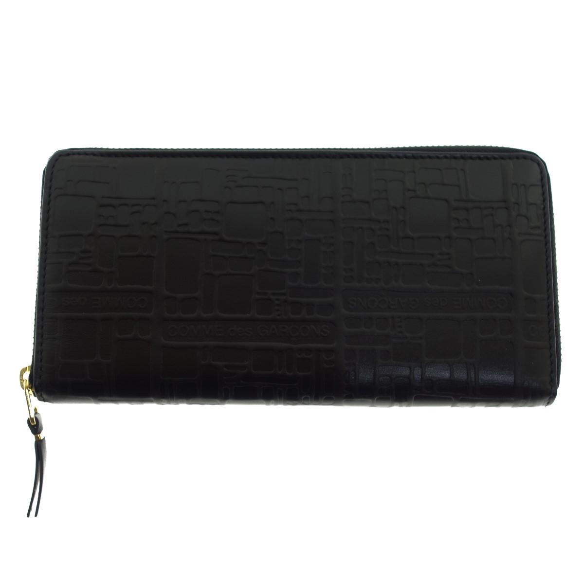 【中古】COMME des GARCONS エンボスロゴ ラウンドジップ長財布 ブラック 【300320】(コムデギャルソン)