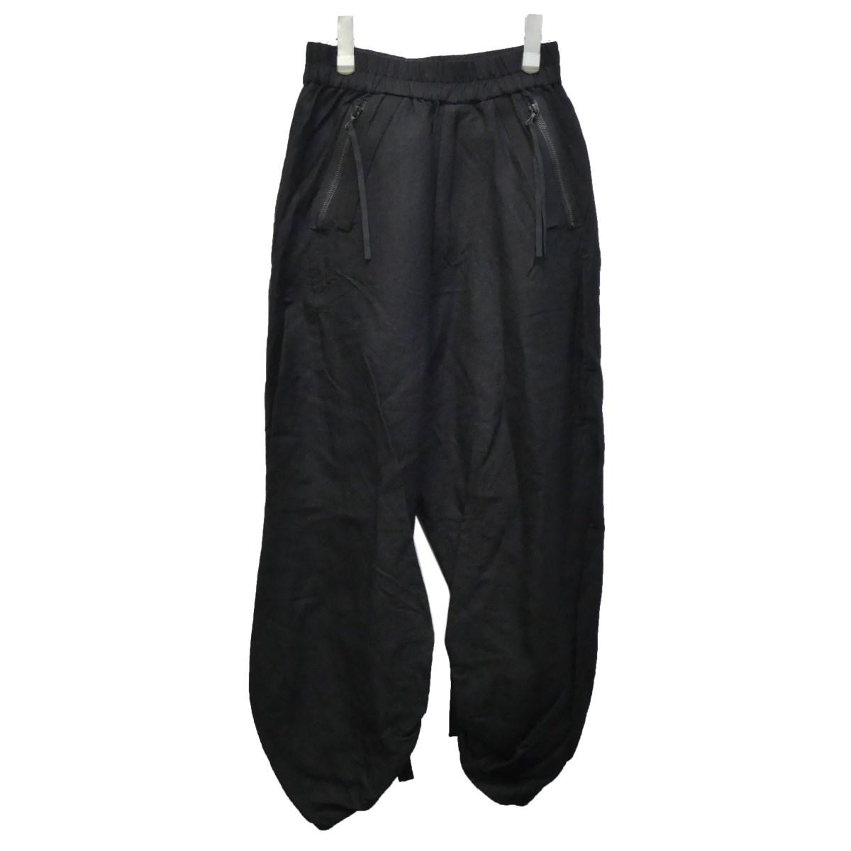 【中古】JULIUS ストラップワイドパンツ ブラック サイズ:1 【290320】(ユリウス)
