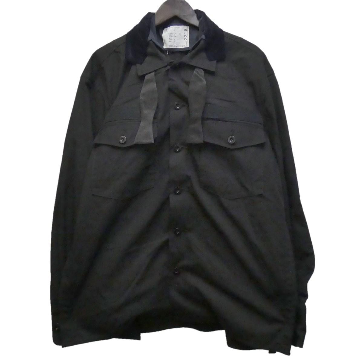 【中古】sacai 20SS 「Fabric Combo Shirt」 ファブリックコンボシャツジャケット ブラック サイズ:2 【290320】(サカイ)