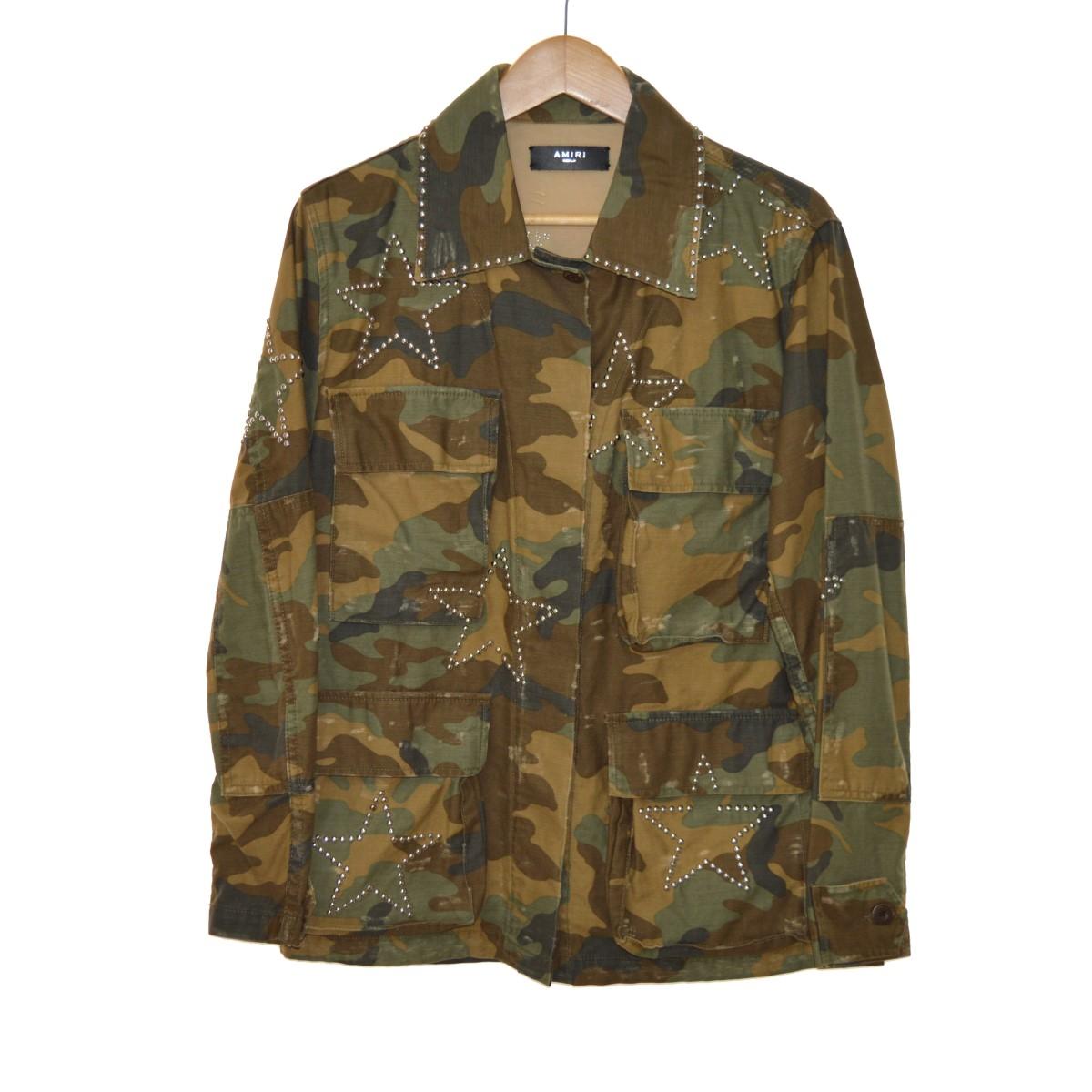 【中古】AMIRI17AW M65 スタースタッズジャケット ブラウン サイズ:M 【5月11日見直し】