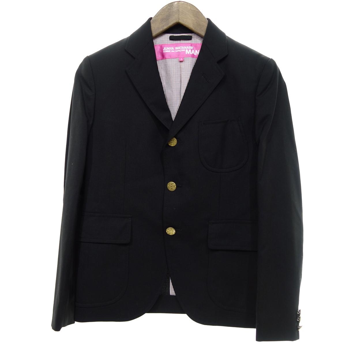 【中古】JUNYA WATANABE CdG MAN PINK AD2012 金ボタン 3Bジャケット ブラック サイズ:S 【300320】(ジュンヤワタナベコムデギャルソンマンピンク)