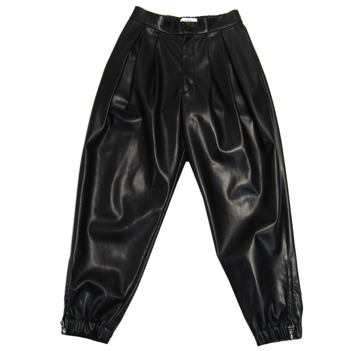 【中古】lot holon 裾ジップフェイクレザーパンツ ブラック サイズ:44 【300320】(ロット ホロン)