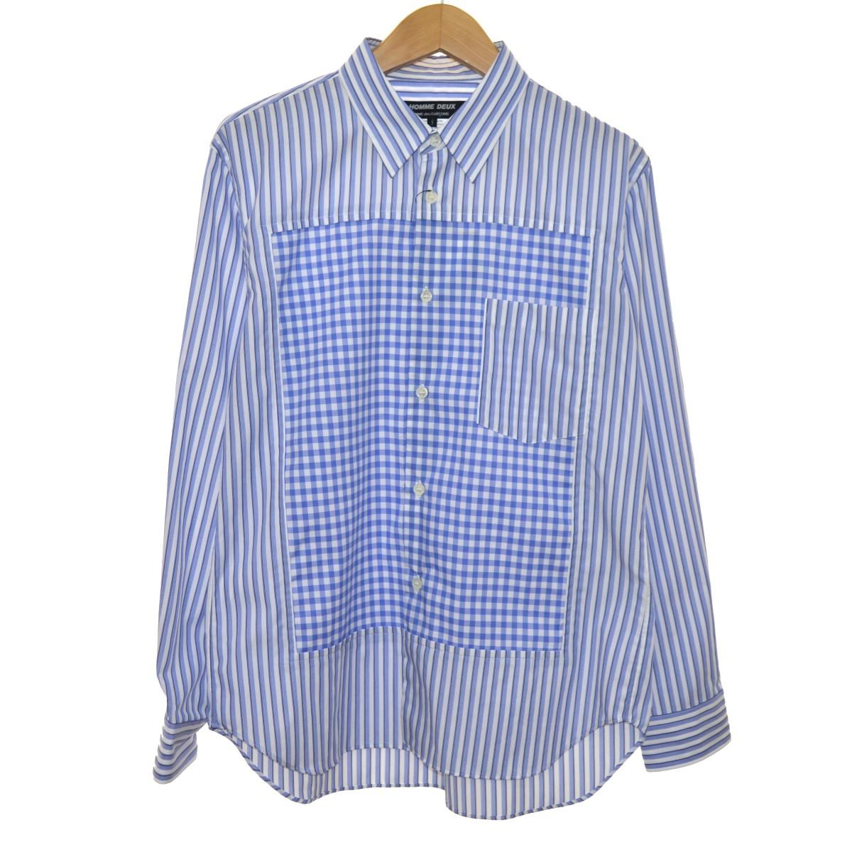 【中古】COMME des GARCONS HOMME DEUX 20SS 切替ストライプシャツ ブルー サイズ:S 【310320】(コムデギャルソンオムドゥ)