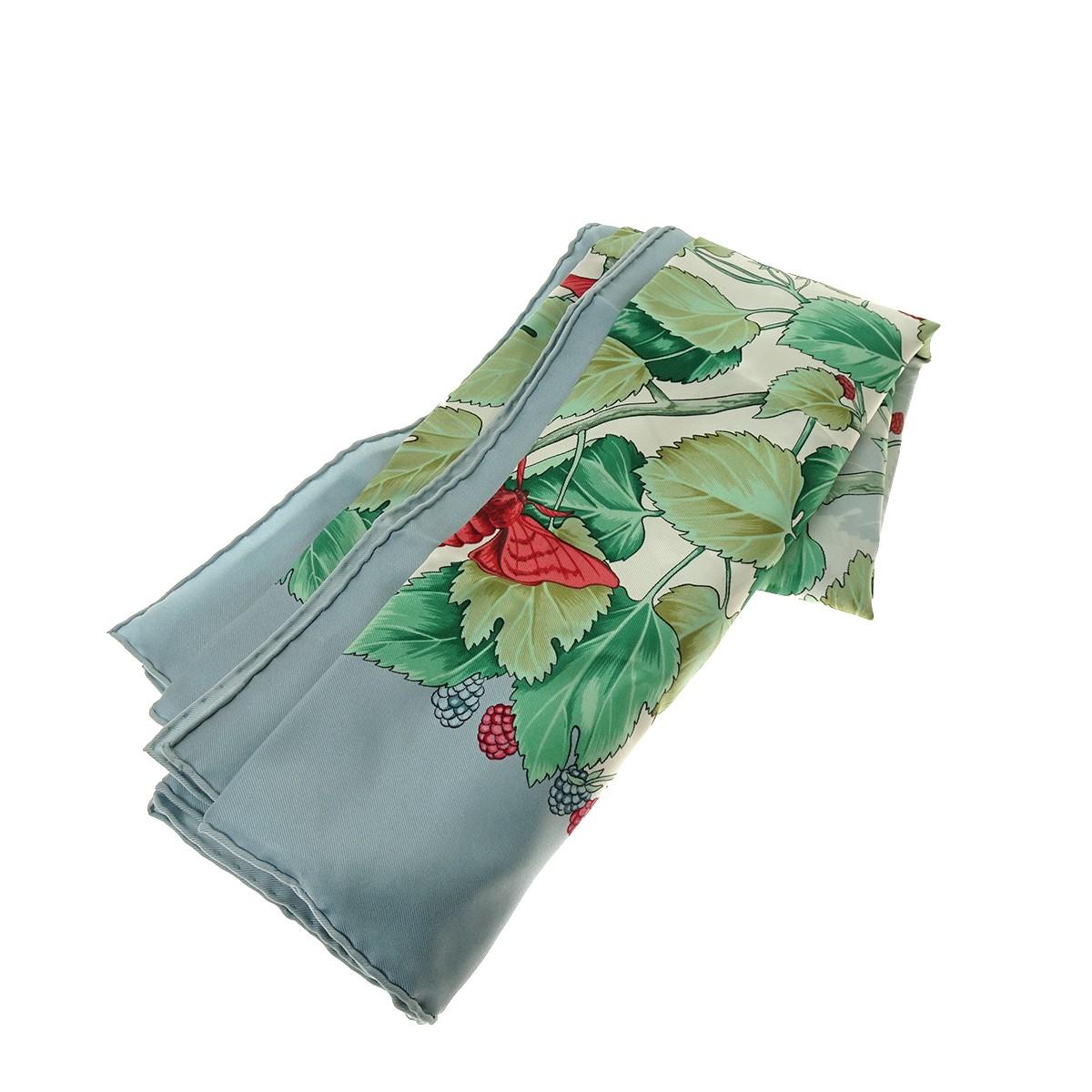 【中古】HERMES カレ90 L'ARBRE DE SOIE 絹の木 ブルー×グリーン サイズ:- 【310320】(エルメス)