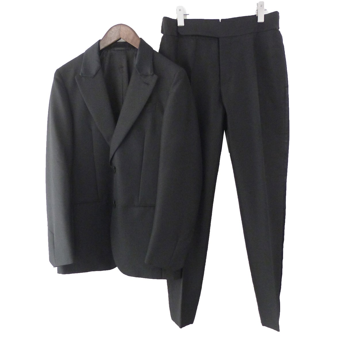 【中古】Berluti ピークドラペル2Bセットアップスーツ ブラック サイズ:44/44 【010420】(ベルルッティ)