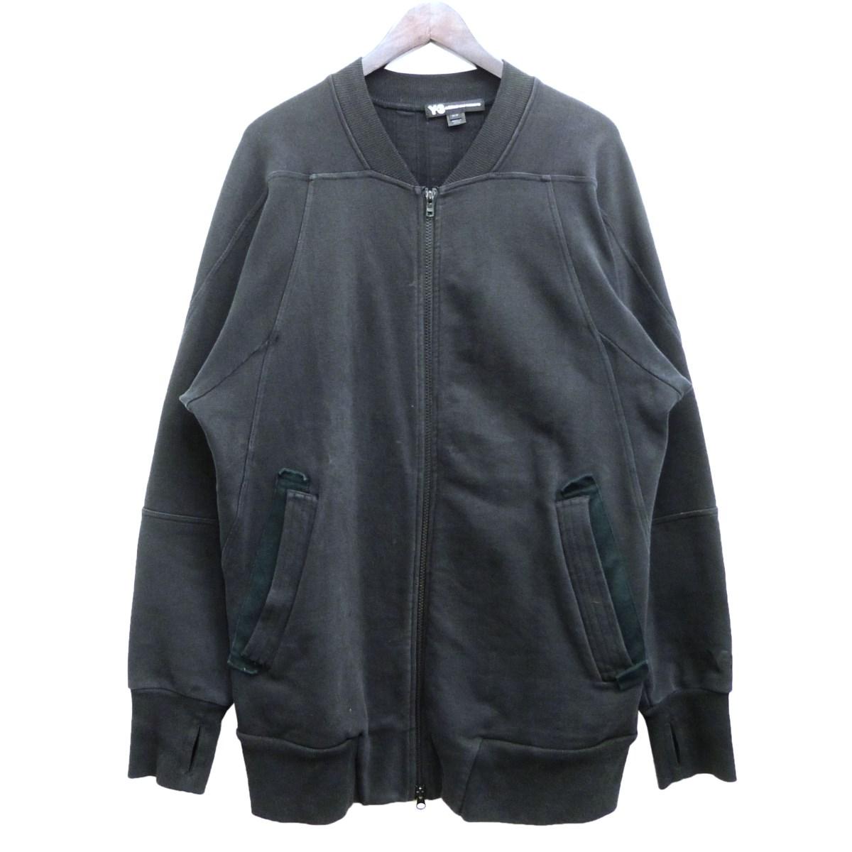 【中古】Y-3 3ストライプスウェットボンバージャケット ブラック サイズ:M 【010420】(ワイスリー)