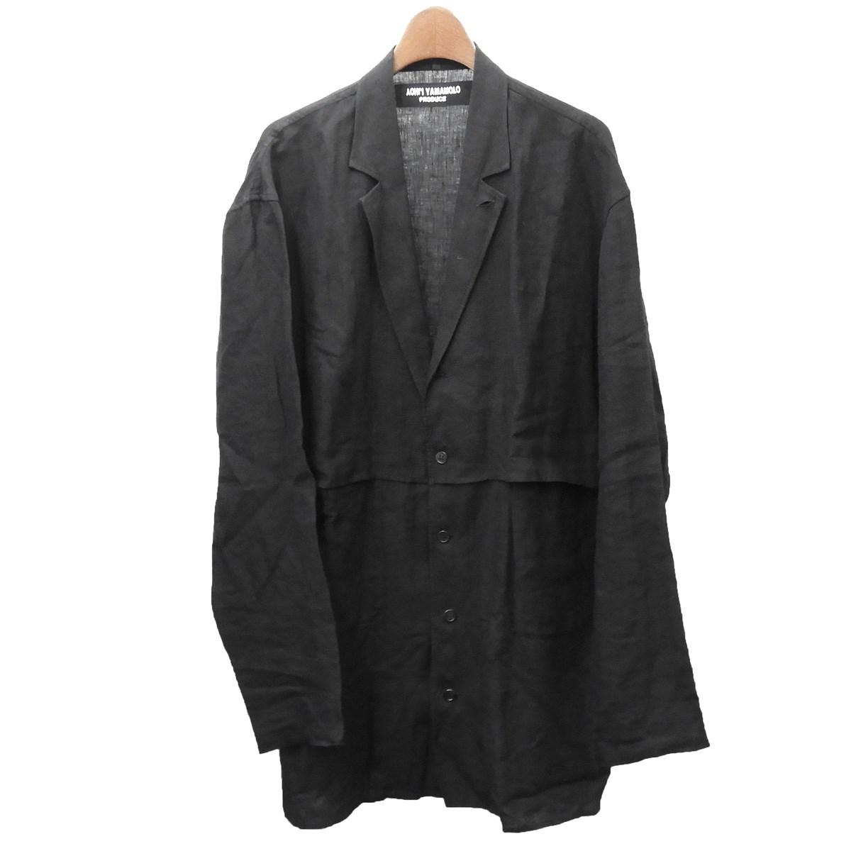 【中古】YOHJI YAMAMOTO pour homme 2017SS リネンテーラードジャケット ブラック サイズ:1 【020420】(ヨウジヤマモトプールオム)