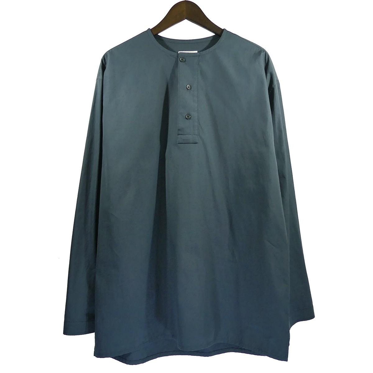 【中古】LEMAIRE 19SS ヘンリーネックシャツ ネイビー サイズ:S 【020420】(ルメール)