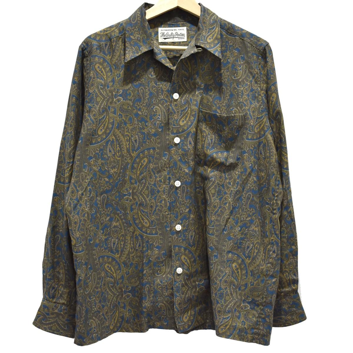 【中古】WACKO MARIA 総柄シャツ 長袖シャツ ブラウン×ブルー サイズ:M 【010420】(ワコマリア)