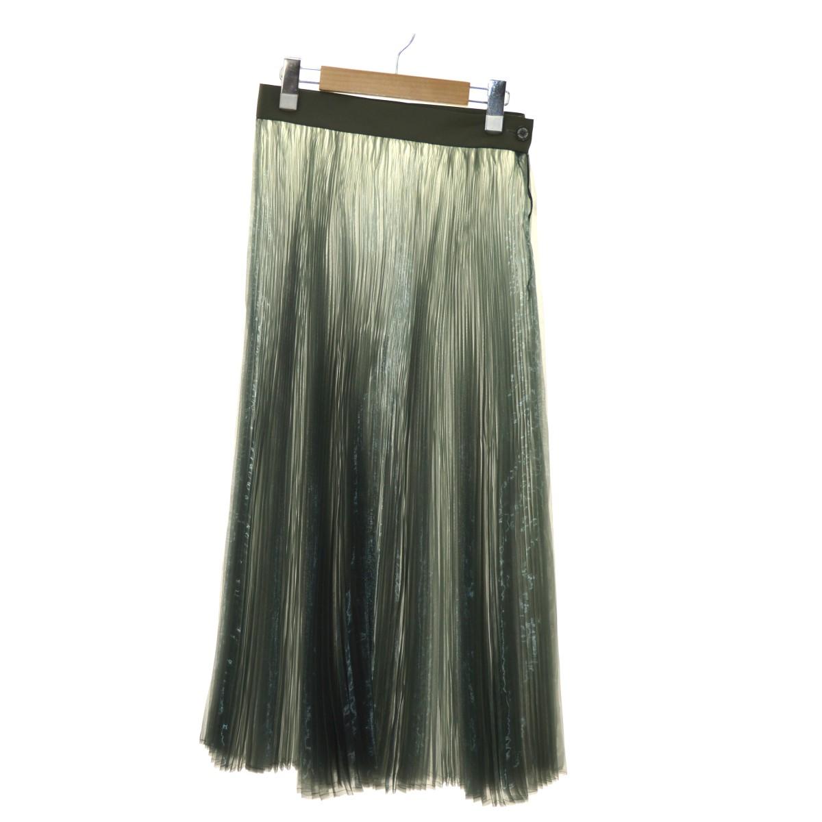 【中古】HYKE シースループリーツスカート グリーン サイズ:M 【020420】(ハイク)