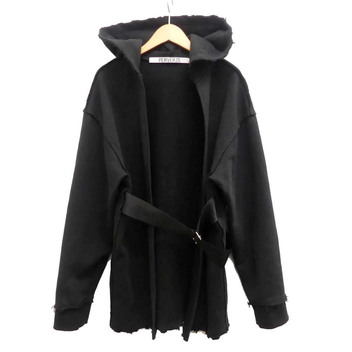 【中古】PERVERZE Open Hoodie ベルトパーカー ブラック サイズ:Free 【020420】(パーバーズ)