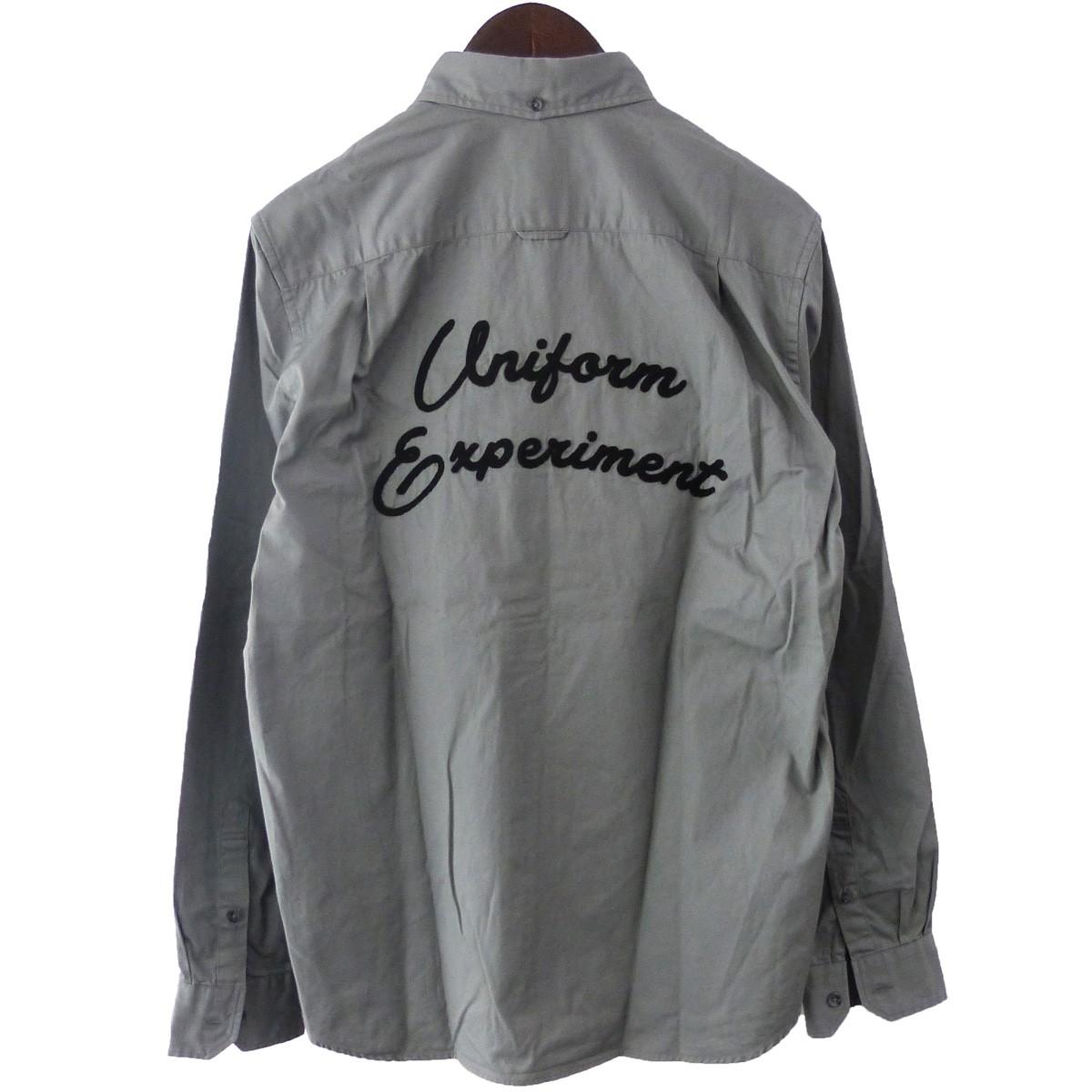 【中古】uniform expeliment 19AW「GABARDINE EMBROIDERY LOGO BD SHIRT」ボタンダウンシャツ グレー サイズ:2 【020420】(ユニフォームエクスペリメント)