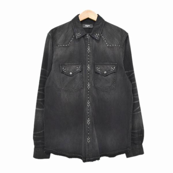 【中古】AMIRI studded denim shirt 加工デニムシャツ ブラック サイズ:S 【020420】(アミリ)