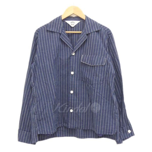 【中古】SUN SEA 2017SS BRICK Check GIGOLO Shirts ブリックチェック ジゴロシャツ ネイビー サイズ:2 【020420】(サンシー)