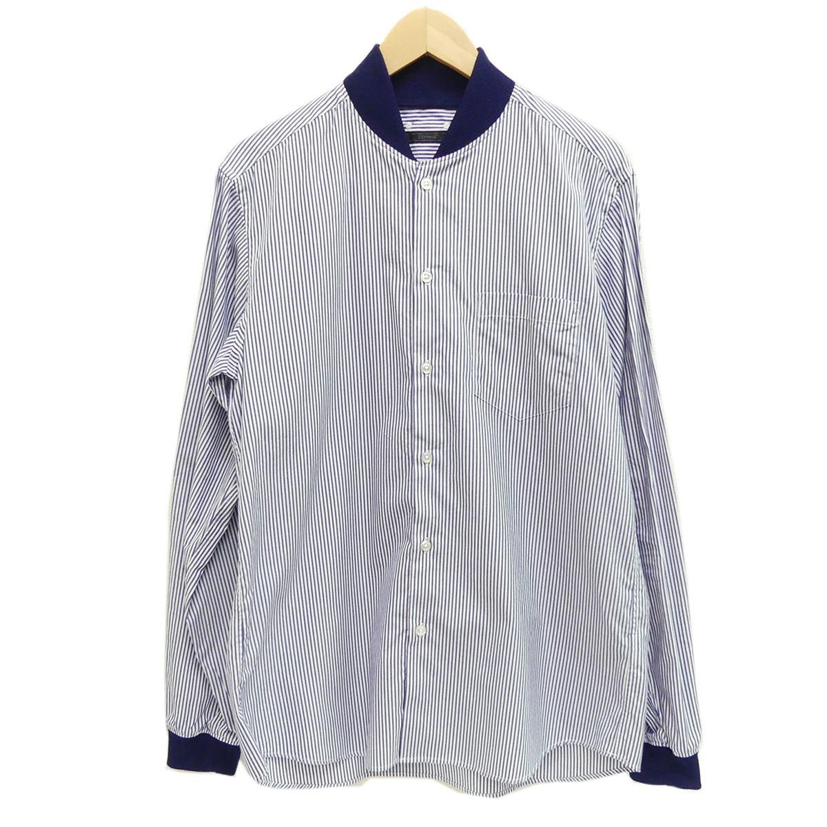 【中古】SOPHNET.2019SS シャツジャケット STUDIUM SHIRT ブルー×ホワイト サイズ:L 【5月14日見直し】