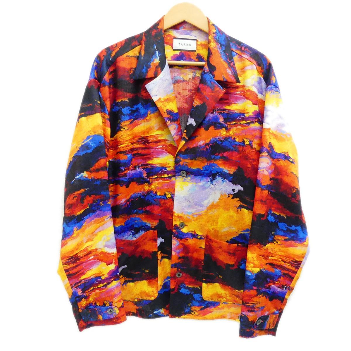 【中古】TAAKKシャツジャケット 2019SS オレンジ サイズ:2 【5月14日見直し】