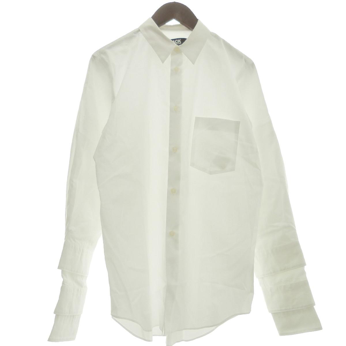 【中古】BLACK COMME des GARCONS 19AW 袖レイヤードシャツ ホワイト サイズ:L 【030420】(ブラックコムデギャルソン)