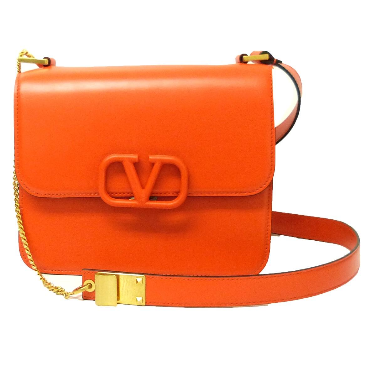 【中古】VALENTINO 「Vスリング」ショルダーバッグ オレンジ 【030420】(ヴァレンチノ)