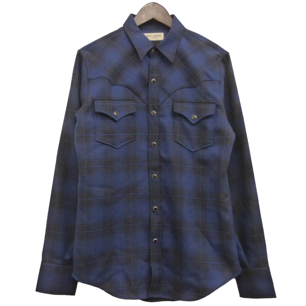【中古】SAINT LAURENT PARIS ウエスタンチェックシャツ ネイビー サイズ:S 【030420】(サンローランパリ)