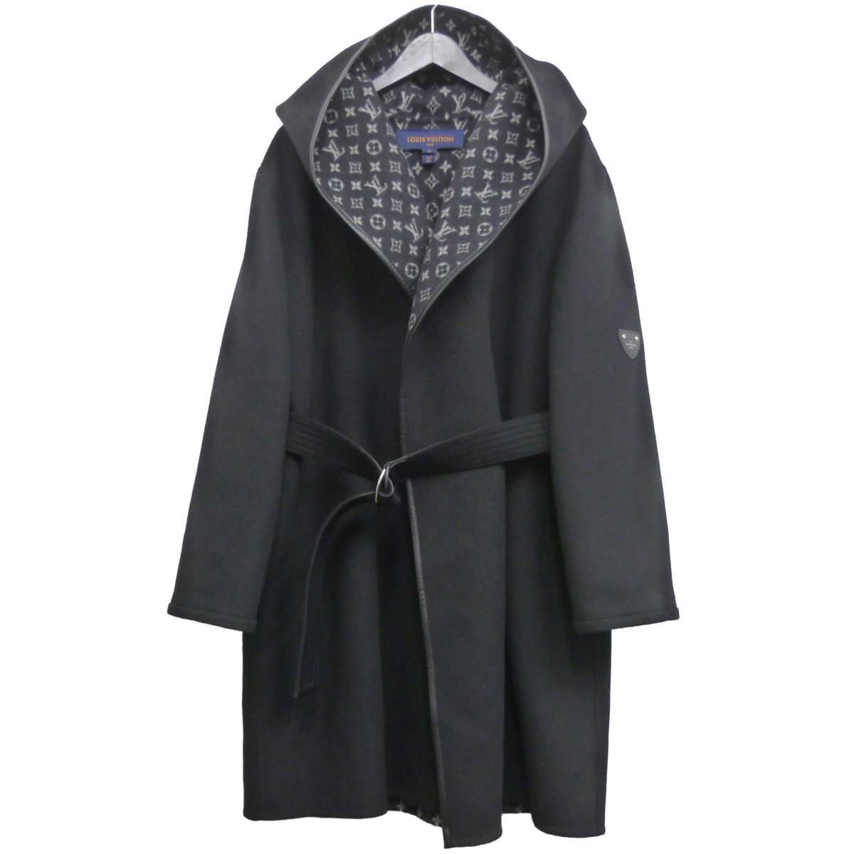 【中古】LOUIS VUITTON '19AW モノグラムフーディラップコート ブラック サイズ:44 【030420】(ルイヴィトン)