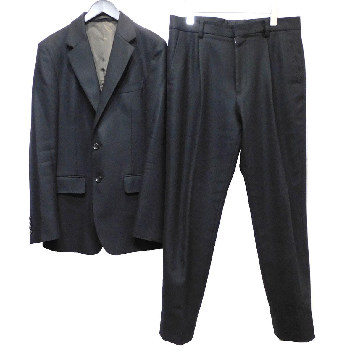 【中古】WACKO MARIA 19AW DORMEUIL社製 セットアップスーツ ブラック サイズ:L 【030420】(ワコマリア)