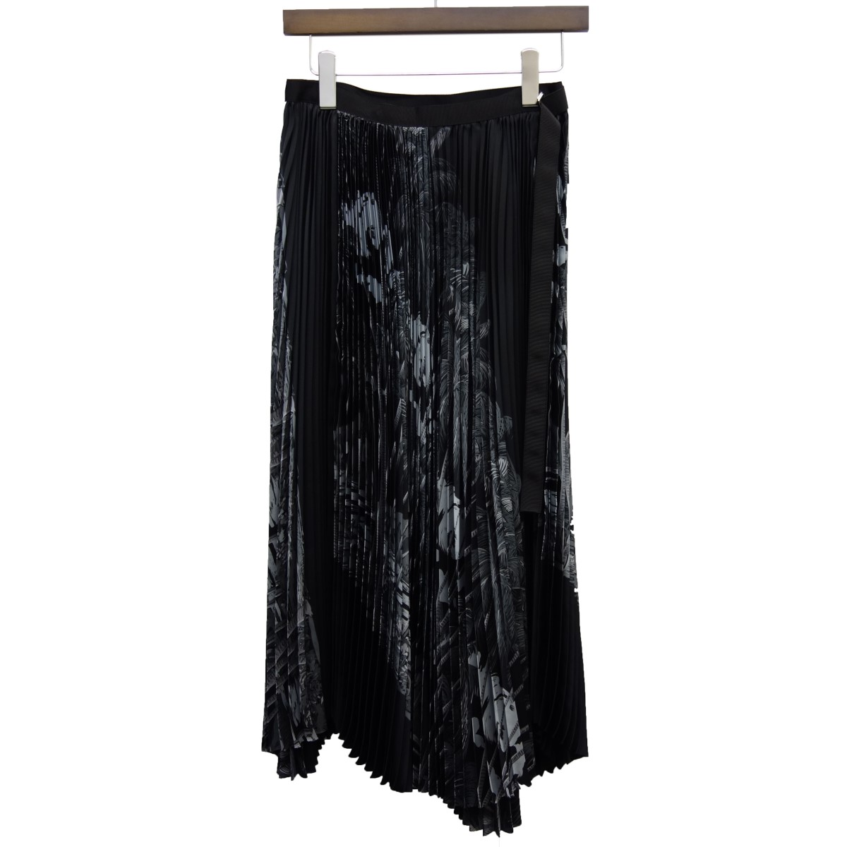 【中古】sacai × SUN SURF 20SS「Diamond Head Pleated Skirt」総柄ラッププリーツスカート ブラック サイズ:2 【030420】(サカイ サンサーフ)