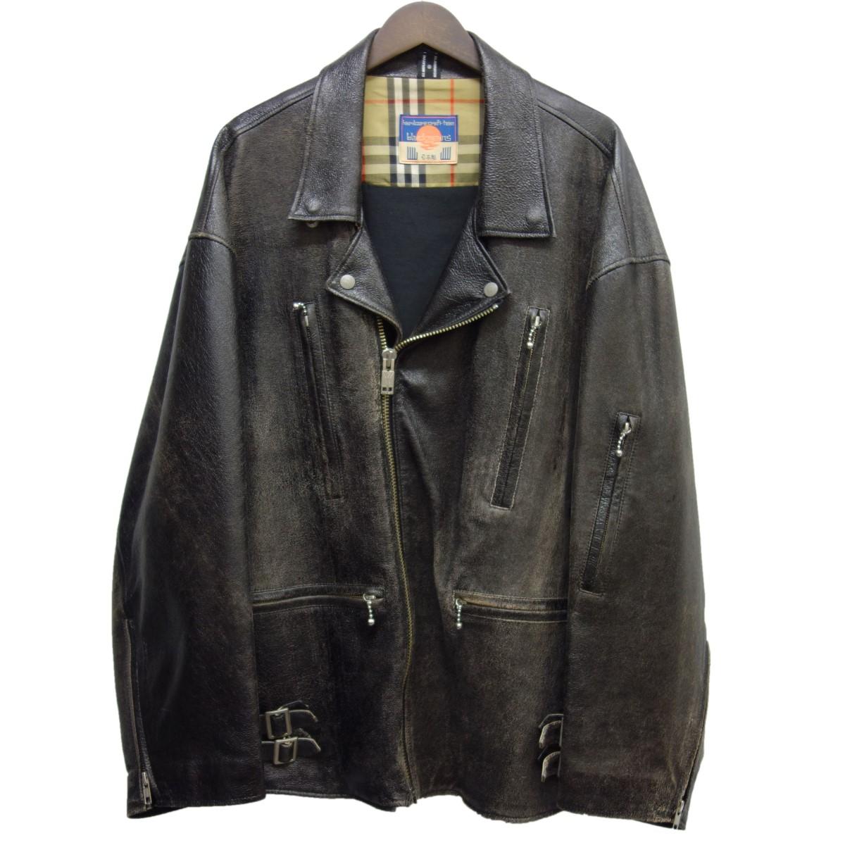 【中古】Blackmeans × ELIMINATOR オーバーサイズレザーダブルライダースジャケット ブラック サイズ:F 【030420】(ブラックミーンズ エリミネイター)
