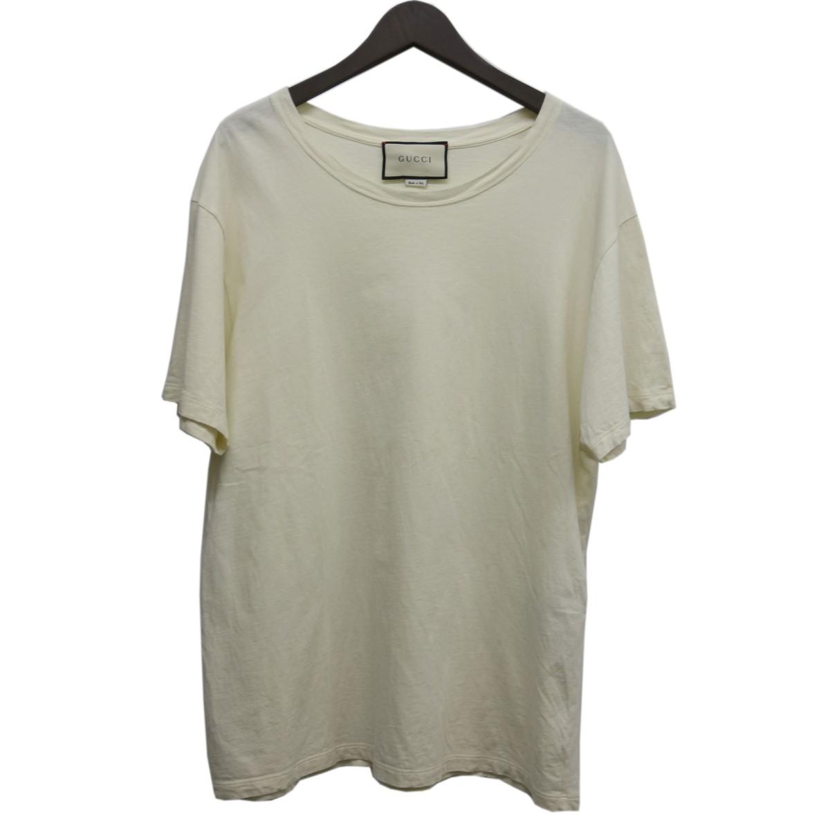 【中古】GUCCI バックショルダーロゴTシャツ ホワイト サイズ:L 【030420】(グッチ)