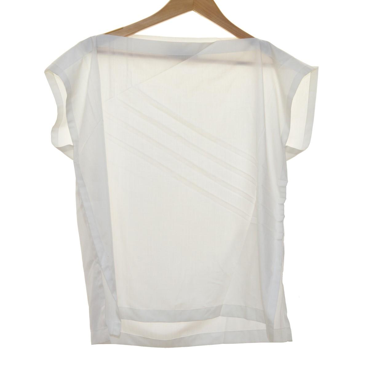 【中古】ISSEY MIYAKE サイドスリットプリーツ半袖シャツ ホワイト サイズ:2 【040420】(イッセイミヤケ)