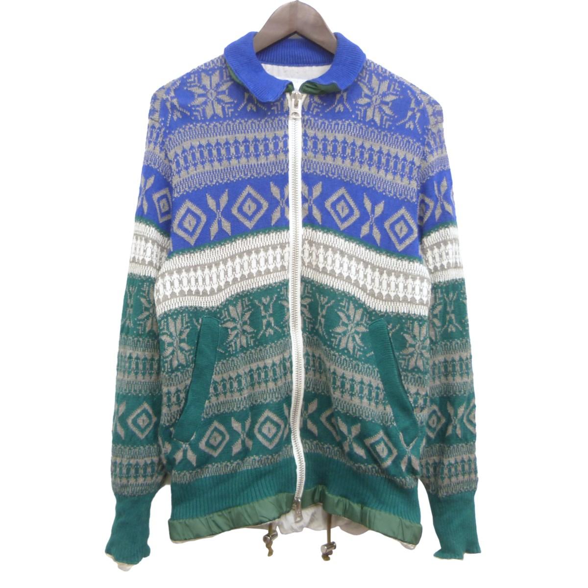 【中古】sacai 18SS ノルディック柄ニットジャケット ブルー×グリーン サイズ:1 【040420】(サカイ)