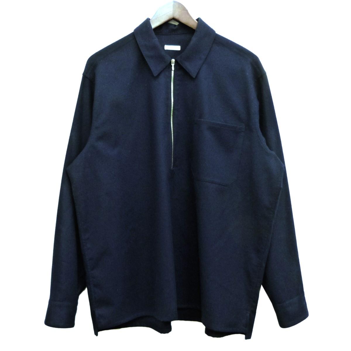 【中古】COMOLI フラノZIPシャツ ネイビー サイズ:2 【040420】(コモリ)