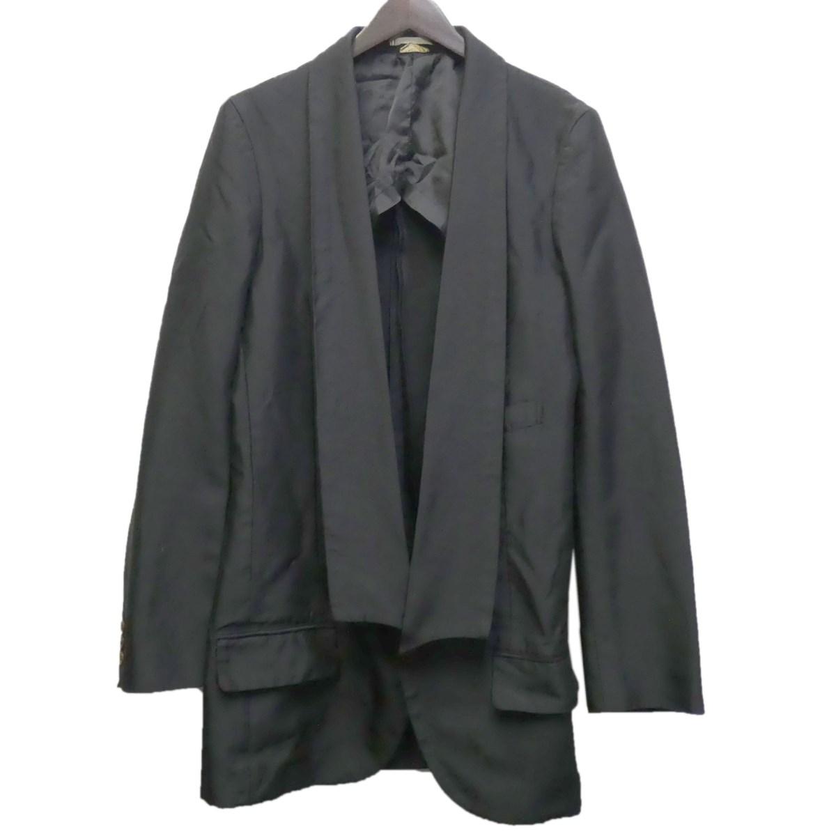 【中古】COMME des GARCONS HOMME PLUS 19AW ショールカラーロングジャケット ブラック サイズ:S 【040420】(コムデギャルソンオムプリュス)