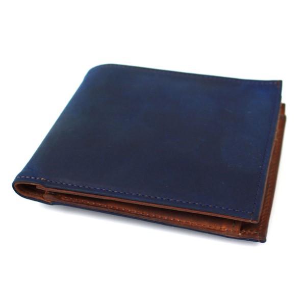 【中古】COCOMEISTER オイルドヌバック 二つ折り財布 オイル汚れ加工 ネイビー サイズ:- 【040420】(ココマイスター)