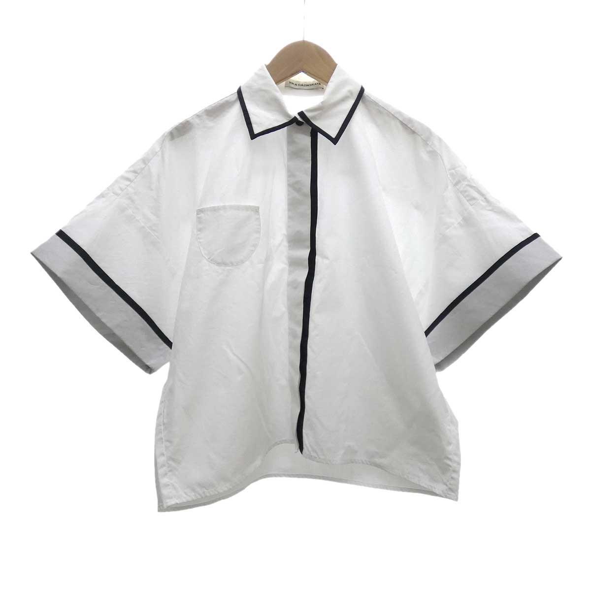 【中古】VIKA GAZINSKAYA ワイドシャツ ホワイト×ブラック サイズ:36 【050420】(ヴィカ ガジンスカヤ)
