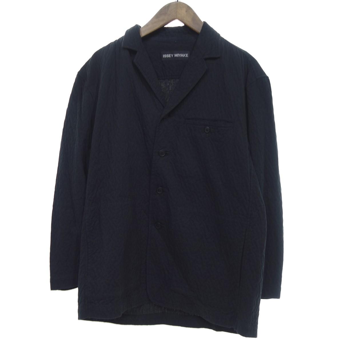 【中古】ISSEY MIYAKE シワ加工 テーラードジャケット ブラック サイズ:1 【050420】(イッセイミヤケ)