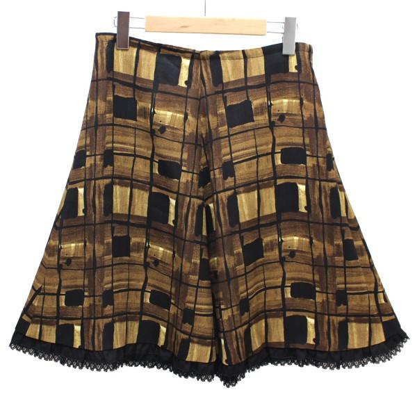 【中古】PRADA 裾フリル 総柄スカート ブラウン、ブラック サイズ:40(M) 【040420】(プラダ)