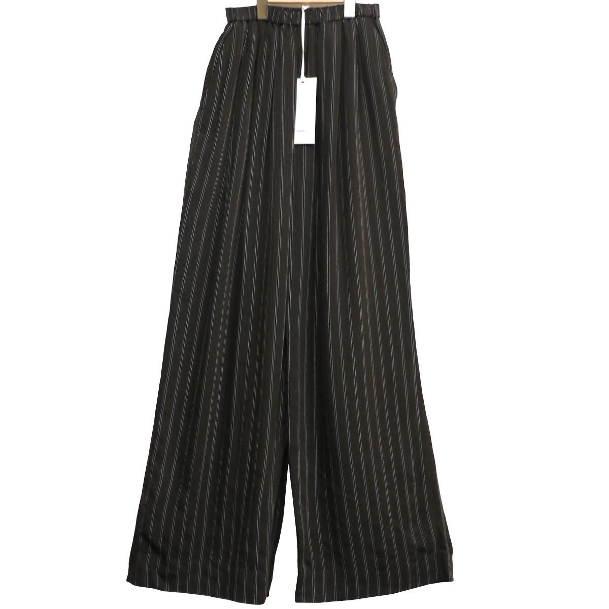 【中古】Graphpaper 19AW Stripe Gather Pantsストライプギャザーワイドパンツ ブラウン×ブラック サイズ:Free(~92cm) 【040420】(グラフペーパー)