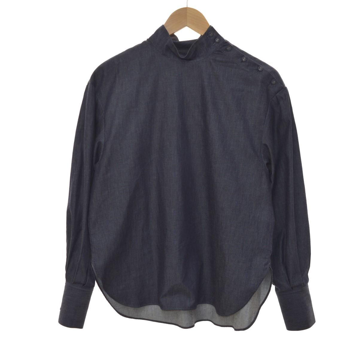 【中古】LE CIEL BLEU 20SS HIGH NECK SHIRT ハイネックシャツ インディゴ サイズ:36 【050420】(ルシェルブルー)
