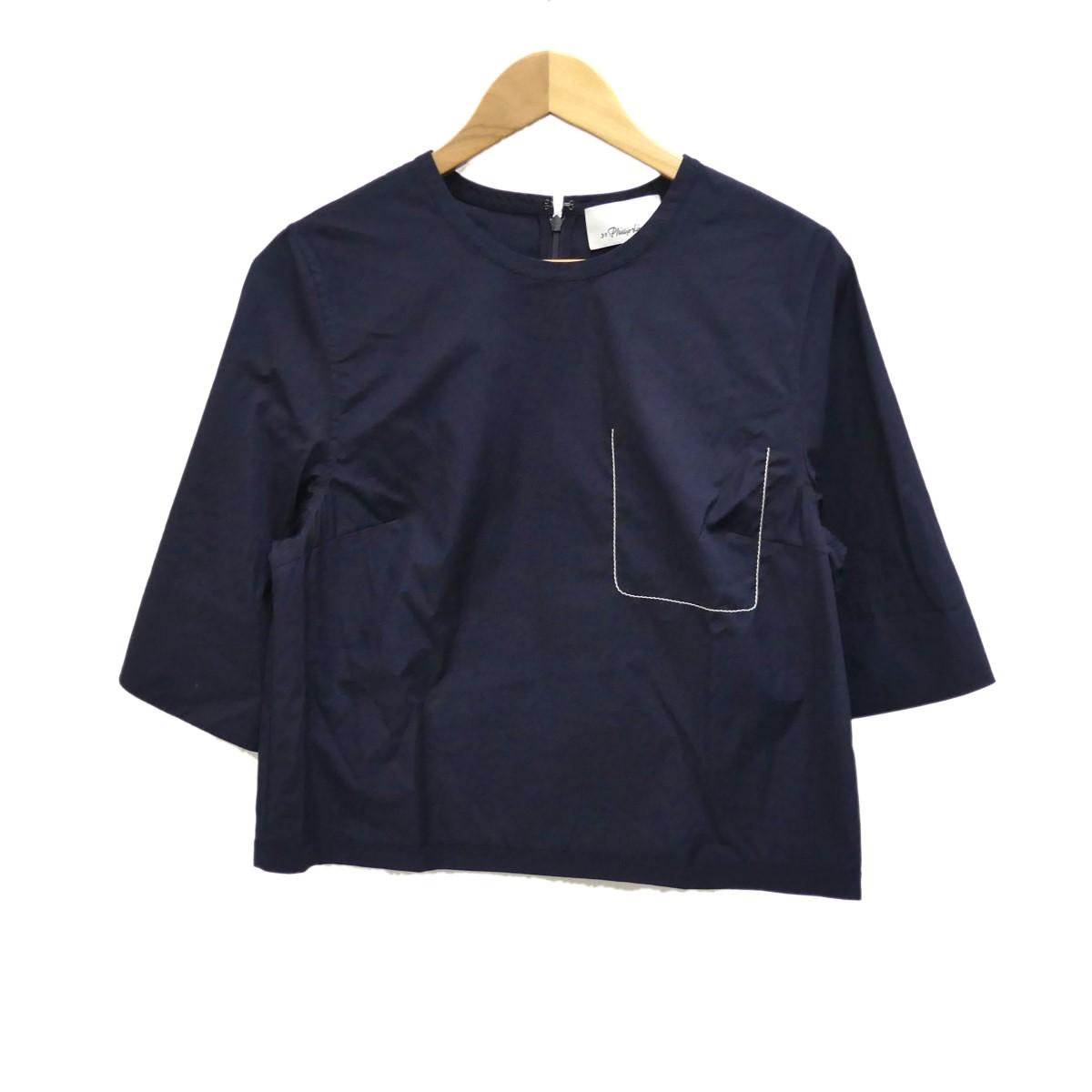 【中古】3.1 phillip lim 半袖プルオーバーシャツ ネイビー サイズ:0 【050420】(スリーワンフィリップリム)