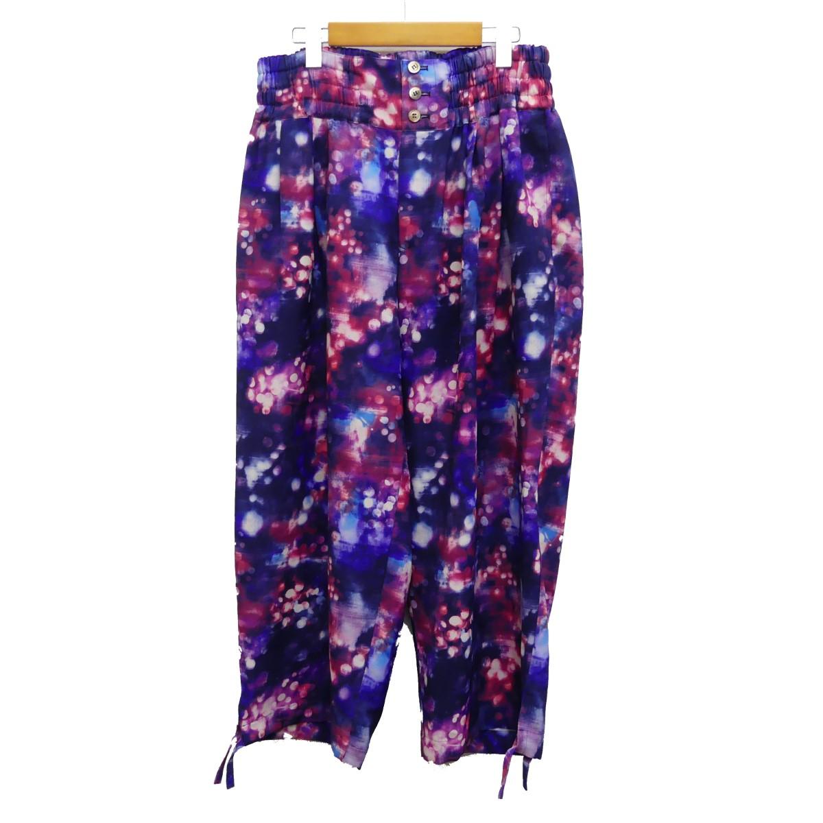 【中古】Robes&Confections2019SS Polyester Baggy Pants 総柄パンツ ネイビー×レッド サイズ:4 【7月9日見直し】