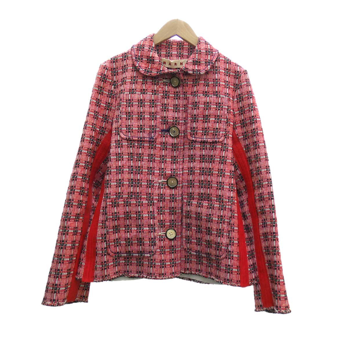 【中古】MARNI Plaid Side Stripe Jacket レッド サイズ:36 【050420】(マルニ)